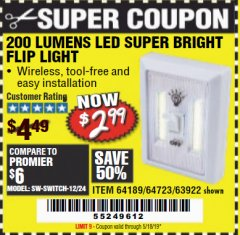 Harbor Freight Coupon LED SUPER BRIGHT FLIP LIGHT Lot No. 64723/63922/64189 Valid Thru: 5/18/19 - $2.99
