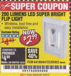 Harbor Freight Coupon LED SUPER BRIGHT FLIP LIGHT Lot No. 64723/63922/64189 Expired: 10/24/19 - $2.99
