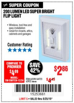 Harbor Freight Coupon LED SUPER BRIGHT FLIP LIGHT Lot No. 64723/63922/64189 Expired: 8/25/19 - $2.86