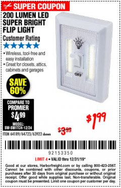Harbor Freight Coupon LED SUPER BRIGHT FLIP LIGHT Lot No. 64723/63922/64189 Valid Thru: 12/31/19 - $1.99