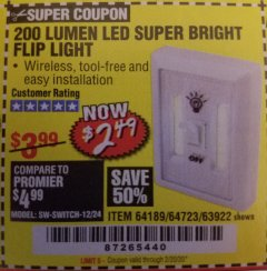 Harbor Freight Coupon LED SUPER BRIGHT FLIP LIGHT Lot No. 64723/63922/64189 Expired: 2/20/20 - $2.49