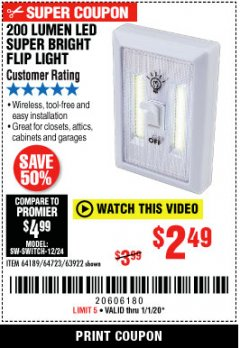 Harbor Freight Coupon LED SUPER BRIGHT FLIP LIGHT Lot No. 64723/63922/64189 Expired: 1/1/20 - $2.49