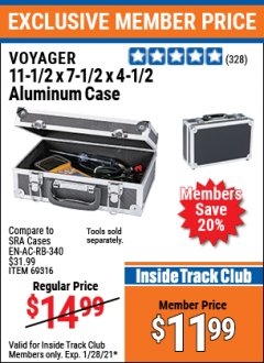 "Harbor Freight ITC Coupon 11"" X 7"" X 4"" ALUMINUM CASE Lot No. 69316 Valid: 1/1/21 1/28/21 - $11.99"