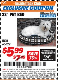 "Harbor Freight ITC Coupon 23"" PET BED Lot No. 66622 Expired: 12/31/18 - $5.99"