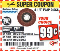 "Harbor Freight Coupon 4.5"" FLAP DISCS Lot No. 67639/61500/69602/67637/69604 Expired: 8/27/18 - $0.99"