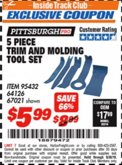 Harbor Freight ITC Coupon 5 PIECE TRIM AND MOLDING TOOL SET Lot No. 64126/67021 Expired: 9/30/18 - $5.99
