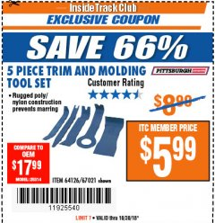 Harbor Freight ITC Coupon 5 PIECE TRIM AND MOLDING TOOL SET Lot No. 64126/67021 Expired: 10/30/18 - $5.99
