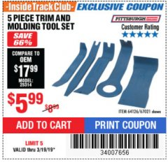 Harbor Freight ITC Coupon 5 PIECE TRIM AND MOLDING TOOL SET Lot No. 64126/67021 Expired: 3/19/19 - $5.99
