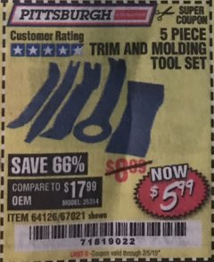 Harbor Freight Coupon 5 PIECE TRIM AND MOLDING TOOL SET Lot No. 64126/67021 Expired: 2/5/19 - $5.99
