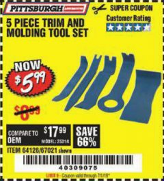 Harbor Freight Coupon 5 PIECE TRIM AND MOLDING TOOL SET Lot No. 64126/67021 Expired: 7/1/19 - $5.99