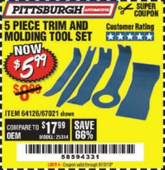 Harbor Freight Coupon 5 PIECE TRIM AND MOLDING TOOL SET Lot No. 64126/67021 Expired: 8/12/19 - $5.99