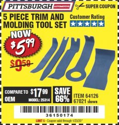 Harbor Freight Coupon 5 PIECE TRIM AND MOLDING TOOL SET Lot No. 64126/67021 Expired: 1/23/20 - $5.99