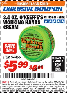 Harbor Freight ITC Coupon 3.4 OZ. O'KEEFE'S WORKING HANDS CREAM Lot No. 96466 Expired: 9/30/18 - $5.99