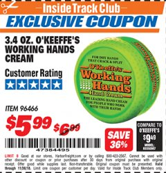 Harbor Freight ITC Coupon 3.4 OZ. O'KEEFE'S WORKING HANDS CREAM Lot No. 96466 Expired: 11/4/18 - $5.99