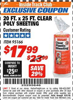 Harbor Freight ITC Coupon 20 FT. X 25 FT. CLEAR POLY SHEETING Lot No. 95166 Expired: 8/31/18 - $17.99