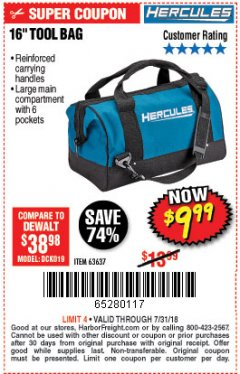 Harbor Freight Coupon HERCULES 16 IN. TOOL BAG Lot No. 63637 Expired: 7/31/18 - $9.99