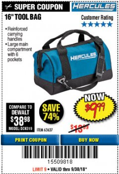 Harbor Freight Coupon HERCULES 16 IN. TOOL BAG Lot No. 63637 Expired: 9/30/18 - $9.99