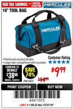 Harbor Freight Coupon HERCULES 16 IN. TOOL BAG Lot No. 63637 Expired: 12/31/18 - $9.99