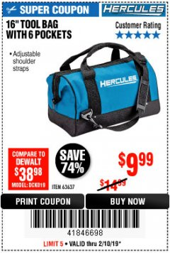 Harbor Freight Coupon HERCULES 16 IN. TOOL BAG Lot No. 63637 Expired: 2/10/19 - $9.99