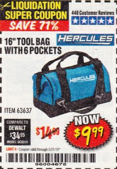 Harbor Freight Coupon HERCULES 16 IN. TOOL BAG Lot No. 63637 EXPIRES: 5/31/19 - $9.99