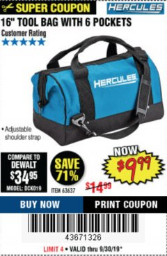 Harbor Freight Coupon HERCULES 16 IN. TOOL BAG Lot No. 63637 Expired: 9/30/19 - $9.99