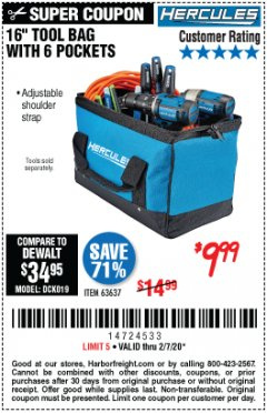 Harbor Freight Coupon HERCULES 16 IN. TOOL BAG Lot No. 63637 Expired: 2/7/20 - $9.99