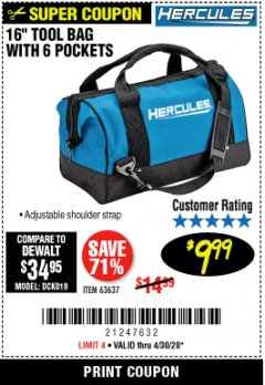 Harbor Freight Coupon HERCULES 16 IN. TOOL BAG Lot No. 63637 EXPIRES: 6/30/20 - $9.99