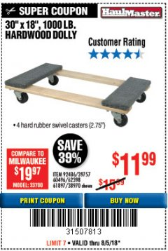 Harbor Freight Coupon HARDWOOD MOVER'S DOLLY Lot No. 61897/39757/38970/60496/62398/92486 Expired: 8/5/18 - $11.99