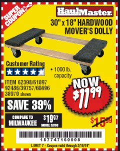 Harbor Freight Coupon HARDWOOD MOVER'S DOLLY Lot No. 61897/39757/38970/60496/62398/92486 Expired: 2/16/19 - $11.99