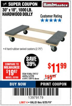 Harbor Freight Coupon HARDWOOD MOVER'S DOLLY Lot No. 61897/39757/38970/60496/62398/92486 Expired: 8/25/19 - $11.99