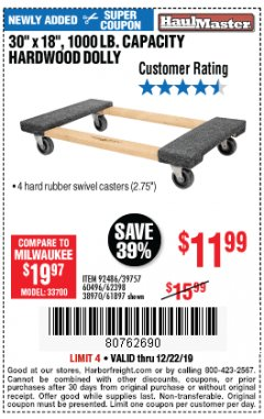 Harbor Freight Coupon HARDWOOD MOVER'S DOLLY Lot No. 61897/39757/38970/60496/62398/92486 Expired: 12/22/19 - $11.99