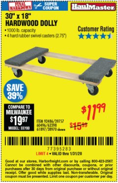 Harbor Freight Coupon HARDWOOD MOVER'S DOLLY Lot No. 61897/39757/38970/60496/62398/92486 Expired: 1/31/20 - $11.99