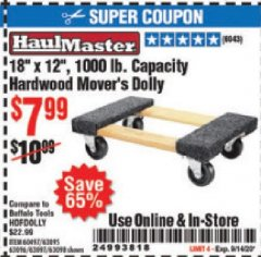 Harbor Freight Coupon HARDWOOD MOVER'S DOLLY Lot No. 61897/39757/38970/60496/62398/92486 Expired: 9/14/20 - $7.99