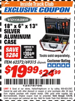 "Harbor Freight ITC Coupon 18"" X 6"" X 13"" SILVER ALUMINUM CASE Lot No. 62272/69315 Expired: 7/31/18 - $19.99"