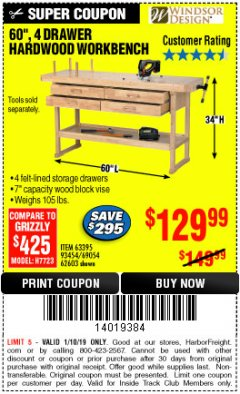 "Harbor Freight ITC Coupon 60"", 4 DRAWER HARDWOOD WORKBENCH Lot No. 63395/93454/69054/62603 Expired: 1/10/19 - $129.99"