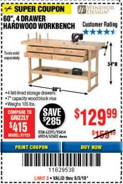 "Harbor Freight Coupon 60"", 4 DRAWER HARDWOOD WORKBENCH Lot No. 63395/93454/69054/62603 Expired: 6/3/18 - $129.99"