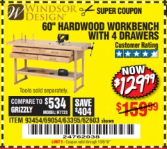 "Harbor Freight Coupon 60"", 4 DRAWER HARDWOOD WORKBENCH Lot No. 63395/93454/69054/62603 Expired: 10/8/18 - $129.99"