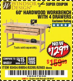 "Harbor Freight Coupon 60"", 4 DRAWER HARDWOOD WORKBENCH Lot No. 63395/93454/69054/62603 Expired: 10/18/18 - $129.99"