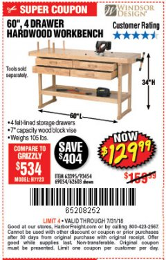 "Harbor Freight Coupon 60"", 4 DRAWER HARDWOOD WORKBENCH Lot No. 63395/93454/69054/62603 Expired: 7/31/18 - $129.99"