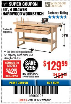 "Harbor Freight Coupon 60"", 4 DRAWER HARDWOOD WORKBENCH Lot No. 63395/93454/69054/62603 Expired: 7/22/18 - $129.99"