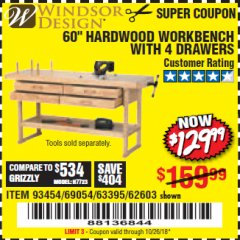 "Harbor Freight Coupon 60"", 4 DRAWER HARDWOOD WORKBENCH Lot No. 63395/93454/69054/62603 Expired: 10/26/18 - $129.99"
