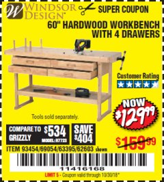 "Harbor Freight Coupon 60"", 4 DRAWER HARDWOOD WORKBENCH Lot No. 63395/93454/69054/62603 Expired: 10/30/18 - $129.99"