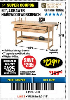 "Harbor Freight Coupon 60"", 4 DRAWER HARDWOOD WORKBENCH Lot No. 63395/93454/69054/62603 Expired: 8/31/18 - $129.99"