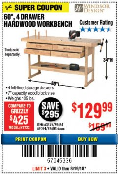 "Harbor Freight Coupon 60"", 4 DRAWER HARDWOOD WORKBENCH Lot No. 63395/93454/69054/62603 Expired: 8/19/18 - $129.99"