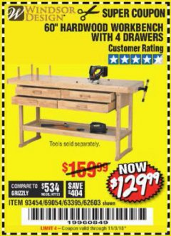 "Harbor Freight Coupon 60"", 4 DRAWER HARDWOOD WORKBENCH Lot No. 63395/93454/69054/62603 Expired: 11/3/18 - $129.99"