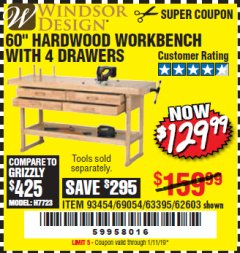 "Harbor Freight Coupon 60"", 4 DRAWER HARDWOOD WORKBENCH Lot No. 63395/93454/69054/62603 Expired: 1/11/19 - $129.99"