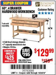 "Harbor Freight Coupon 60"", 4 DRAWER HARDWOOD WORKBENCH Lot No. 63395/93454/69054/62603 Expired: 10/29/18 - $129.99"