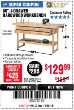 "Harbor Freight Coupon 60"", 4 DRAWER HARDWOOD WORKBENCH Lot No. 63395/93454/69054/62603 Expired: 11/18/18 - $129.99"