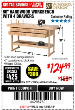 "Harbor Freight Coupon 60"", 4 DRAWER HARDWOOD WORKBENCH Lot No. 63395/93454/69054/62603 Expired: 12/31/18 - $124.99"