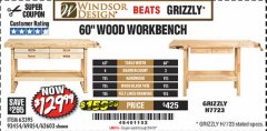 "Harbor Freight Coupon 60"", 4 DRAWER HARDWOOD WORKBENCH Lot No. 63395/93454/69054/62603 Valid Thru: 5/4/19 - $129.99"